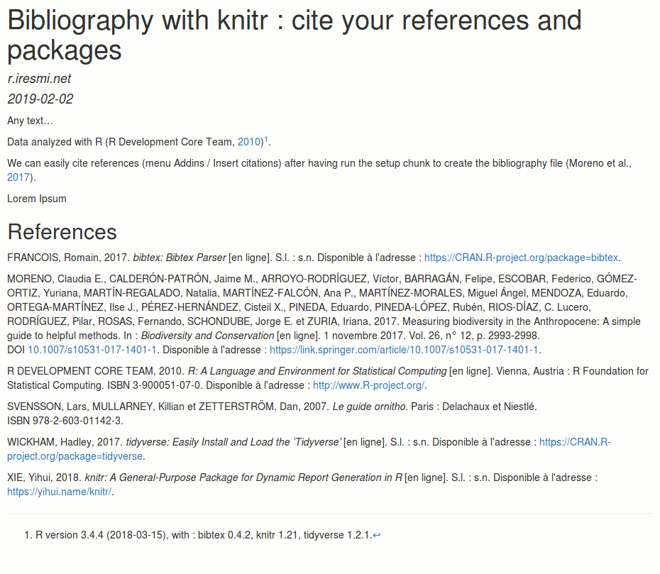 Bibliography with knitr : cite your references and packages | R-bloggers